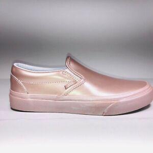 VANS Slip On Rose Gold Metallic Sidewall Sneakers Women Size 6 VN0A38F7QTU