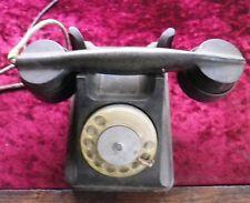 Vintage Soviet Black Telephone Rotary Dial Phone // 1