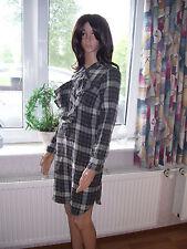 Ralph Lauren Dasha Ruffle Dress Kleid grau kariert Rüschen Langarm Grösse M neu