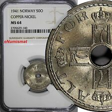 Norway Haakon Vii 1941 50 Øre Ngc Ms64 Wwii Issue Top Graded By Ngc Km# 386