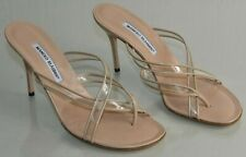 NEW Manolo Blahnik Sandals PVC Slides Mules Leather Heels NUDE Beige Shoes 41