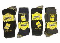 6x or 12x Pairs Mens Heavy Duty Work Socks Outdoor Work Black Socks Shoe 6-11