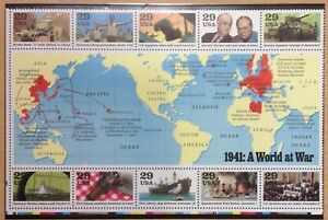 USA 1991 50th ANNIVERSARY USA INTO WW2 SHEET SG2611-20  UNMOUNTED CAT £13+