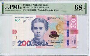UKRAINE 200 HRYVEN 2019 P A127a SUPERB GEM UNC PMG 68 EPQ Top