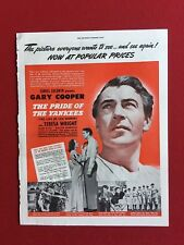 """1943, """"Pride of the Yankees"""" (Gary Cooper) Movie Ad (Scarce)"""