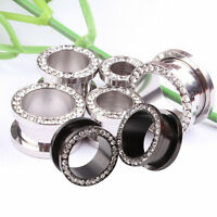 NEW Pair Surgical Steel CRYSTAL RIMMED Screw Fit Ear Stretcher Flesh Tunnel Plug