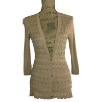 Trina Turk Sm Long Cardigan Tan Brown Button Texture 3/4 Sl Stretch Layer CUTE