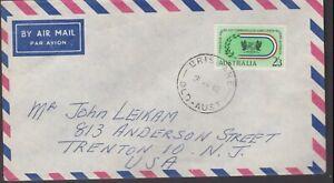 1962 2'3 Solo British Empire Commonwealth Games Australia Air Mail Cover to USA