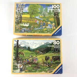 1980s Lot of 2 Puzzles Ravensburger 80 & 100 Piece Vintage Childrens Germany