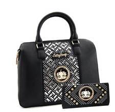 Betty Boop Premium Purse Wallet Set, Mirror Stones, Satchel Style (Black)