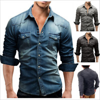 Mens Jean Shirt Thick Denim Cotton Shirt Slim Fit Long Sleeve Shirt Gray Blue