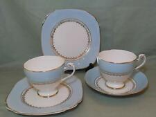 Vintage Roslyn Bone China 2 Tea Cups, 1 Saucer, 2 Plates 8766 Pale Blue & Gilt