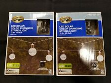 2 NEW Sets-Hampton Bay 10 Bulb Solar LED Crackle Glass Ball 12' String Lights
