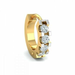 14k Yellow Gold Diamond Hoop Nose Pin Ring Piercing Full Cut Stud Women Jewelry