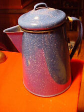 VINTAGE BLUE GRANITE WHITE SPECKLED COFFEE POT NEW CONDITION KITCHEN CAMPING