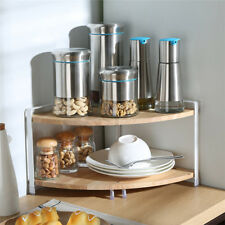 2 Tier Wooden Kitchen Storage Organizer Corner Display Shelf Jar Can Unit Rack