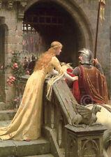 Edmund Leighton God Speed Medieval Knight Romantic Print Poster 16x20
