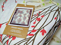 West Elm Multi Colors Sakura Tree Blossom Cotton King Duvet Cover New Stains