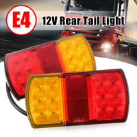 Pair 12V Rear Stop LED Lights Tail Indicator Lamp For Trailer Truck Caravan Van