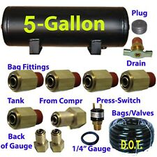 "xfitx 5 Gallon Air Tank with Fittings Kit Pressure Switch 1/4"" / 3/8"" airhose"