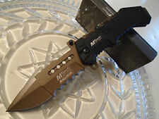 Mtech Ballistic Assisted Combat Folder Knife w Pocket Hook Open A928BT Brown New