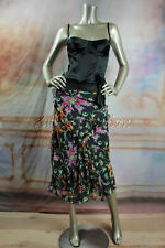 $3280 New CHRISTIAN DIOR Black Red Orange Pink Flame Print Silk Long Skirt 40 8