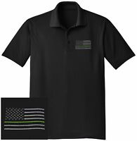 NEW THIN GREEN LINE Embroidered Wicking DRYFIT Black Polo Shirt -Free Shipping!