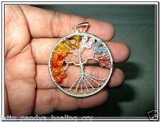 Jet Exquisite Chakra Tree Agate Pendant Mix Stones Healing Energy Positive