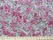 Ribbon Rose Embroidery Embroidered Fabric by the Yard - Pink/Grey
