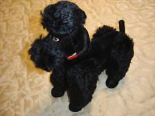 """STEIFF VINTAGE 14"""" Mohair Black Poodle Excellent Condition C. 1950"""