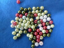 200 Mixed 3 Different Colours Glass Pearl Beads 4mm
