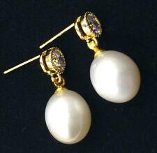11-12MM HUGE south sea pearl earrings 18K GOLD HUGE teardrop     TwoPin earbob