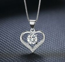 925 Sterling Silver Love Heart Cubic Zirconia CZ Pendant Necklace 18