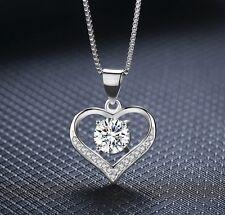 "Sterling Silver Love Heart Cubic Zirconia Pendant Necklace 18"" Box PE42"