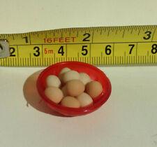 Dollhouse Miniature Store/Market/Home/Food/Farm 10 Eggs & Red Basket 1:12