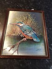 Vintage Foil Art Framed Print of Kingfisher Bird  by P Sturgess 1977
