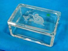 Czech Art Deco Beveled Etch Glass Jewelry Box Nude Blowing Bubbles Bird Hoffmann