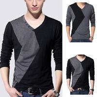 Fashion Men's Autumn Splice Long Sleeve Cotton T-Shirts V-neck Tops Size M-5XL