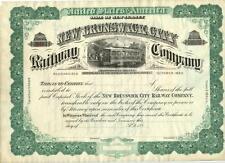 1890s New Brunswick City New Jersey Railway Stock Certificate Unissued Railroad