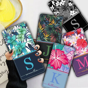 Personalised NAME INITIAL FLORAL WALLET Phone Case Cover For iPhone & Samsung