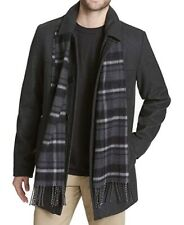 DOCKERS MENS WESTON WOOL BLEND CAR COAT WITH SCARF!! NEW!! XL!! CHARCOAL!!