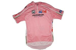 SMS Santini Cycling Jersey 1/2 Zip Pink Size XL Three Pocket Water Bottle Holder