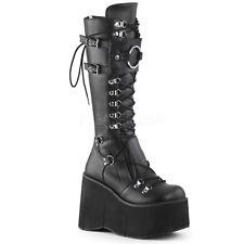 "DEMONIA Gothic Punk 4 1/2"" Platform Lace Up Black Knee High Women Boots KERA-200"