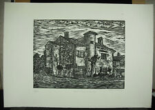 Alfred Speiser Home in Saubusse Dans Les Landes Wood Engraved Original c1970
