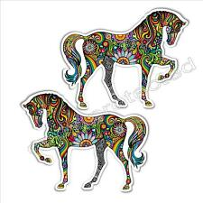 funny car bumper sticker colourful horse mirrored pair 125 x 99 mm vinyl decals
