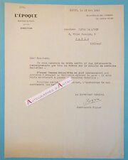 LTS 1946 Jean Louis VIGIER Directeur Journal l'Epoque à Girod de l'Ain Lettre