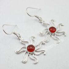 .925 Sterling Silver Genuine RED FIRE CARNELIAN STYLISH Earrings 1.5 Inch