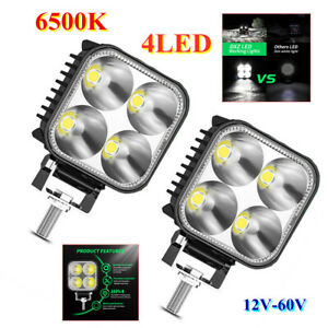 """3"""" Car DRL Work Lights Spot Flood Light Bar 4LED Lamp Beads 12W 12V-60V Aluminum"""