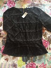 Ann Taylor Women Long Sleeve Black Lace Top Size: MP New With Tag