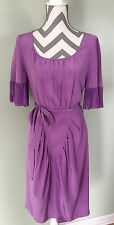 BCBG Max Azria Purple Southwestern Western Fringe Scoop Neck Belted Dress Size 6